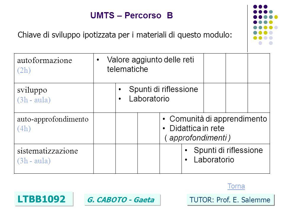 42 UMTS – Percorso B LTBB1092 G. CABOTO - Gaeta TUTOR: Prof. E. Salemme Chiave di sviluppo ipotizzata per i materiali di questo modulo: autoformazione