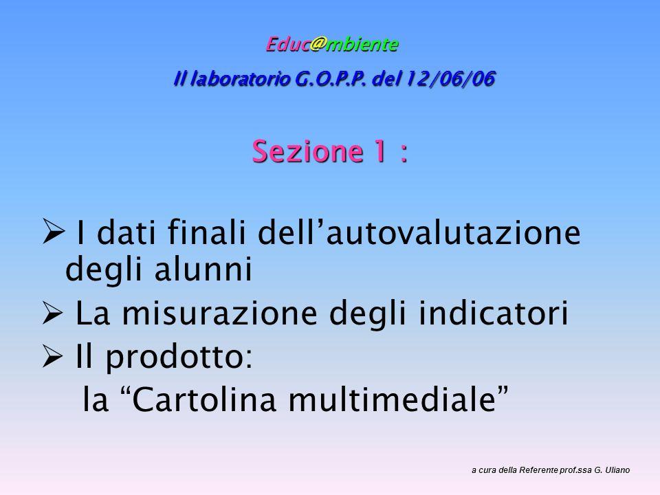 Educ@mbiente Il laboratorio G.O.P.P. del 12/06/06 Sezione 1 : I dati finali dellautovalutazione degli alunni La misurazione degli indicatori Il prodot