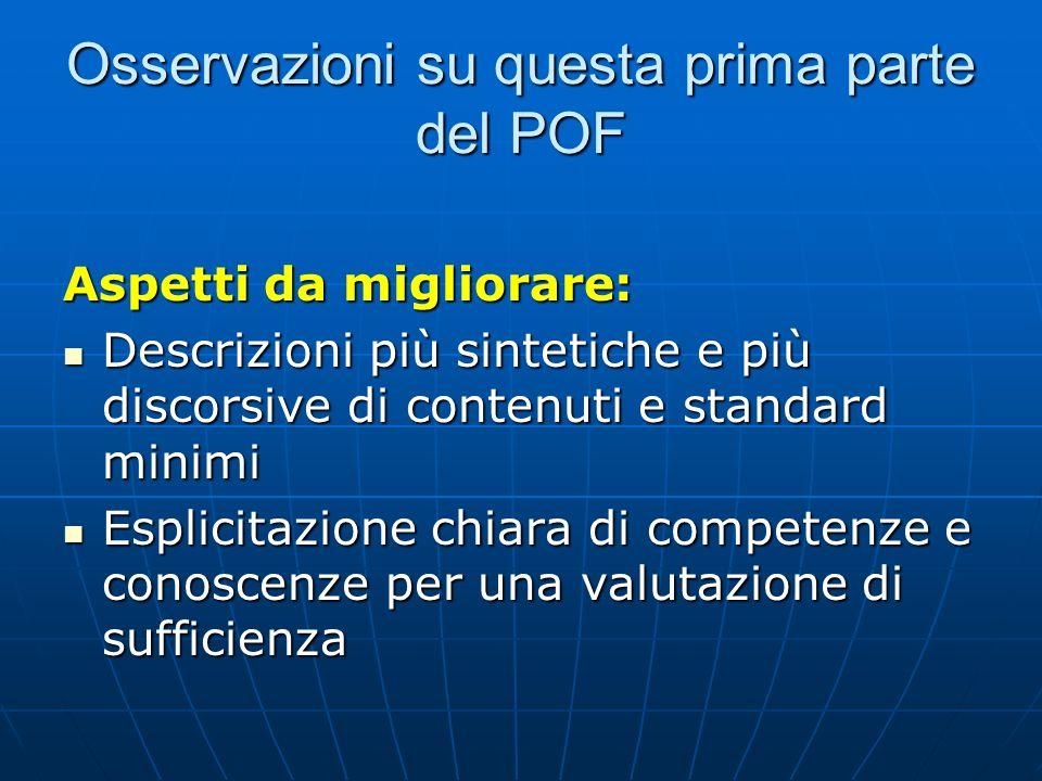 Osservazioni su questa prima parte del POF Aspetti da migliorare: Descrizioni più sintetiche e più discorsive di contenuti e standard minimi Descrizio