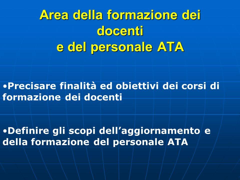Area della formazione dei docenti e del personale ATA Precisare finalità ed obiettivi dei corsi di formazione dei docenti Definire gli scopi dellaggio