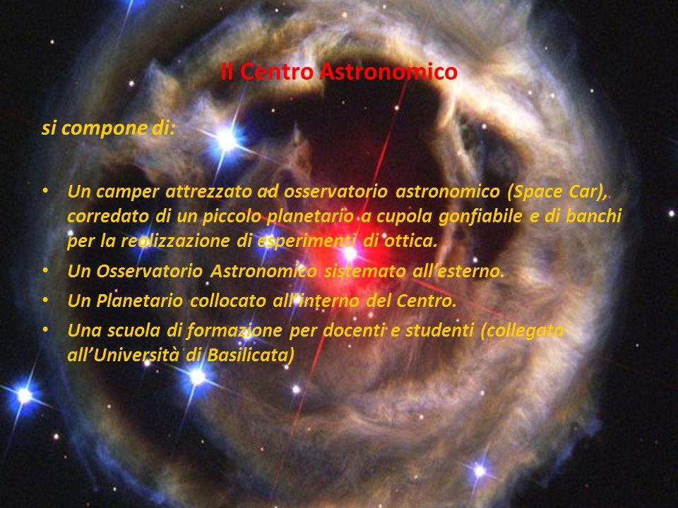 Il Centro Astronomico si compone di: Un camper attrezzato ad osservatorio astronomico (Space Car), corredato di un piccolo planetario a cupola gonfiab