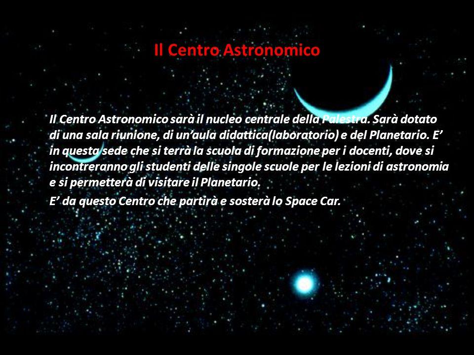 Il Centro Astronomico sarà il nucleo centrale della Palestra. Sarà dotato di una sala riunione, di unaula didattica(laboratorio) e del Planetario. E i