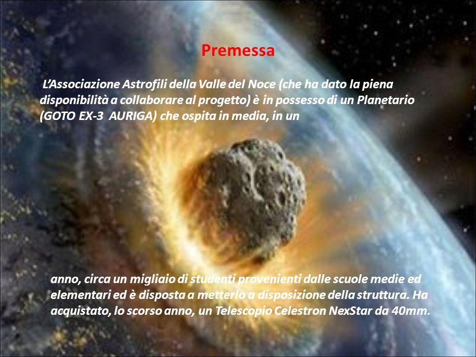 LAssociazione Astrofili della Valle del Noce (che ha dato la piena disponibilità a collaborare al progetto) è in possesso di un Planetario (GOTO EX-3