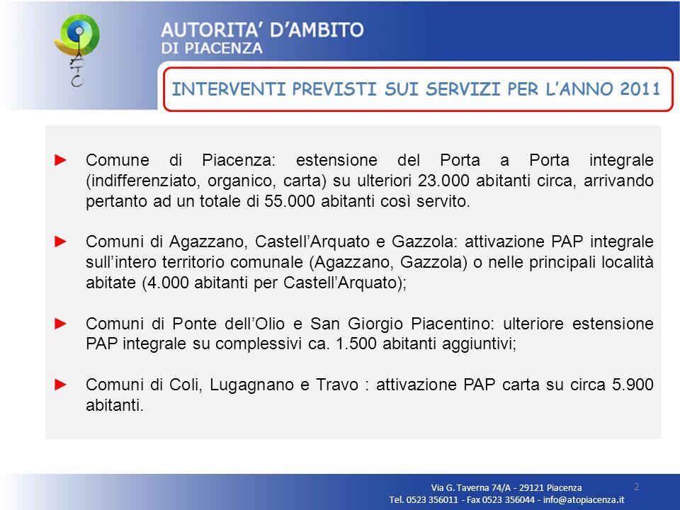 Comune di Piacenza: estensione del Porta a Porta integrale (indifferenziato, organico, carta) su ulteriori 23.000 abitanti circa, arrivando pertanto a