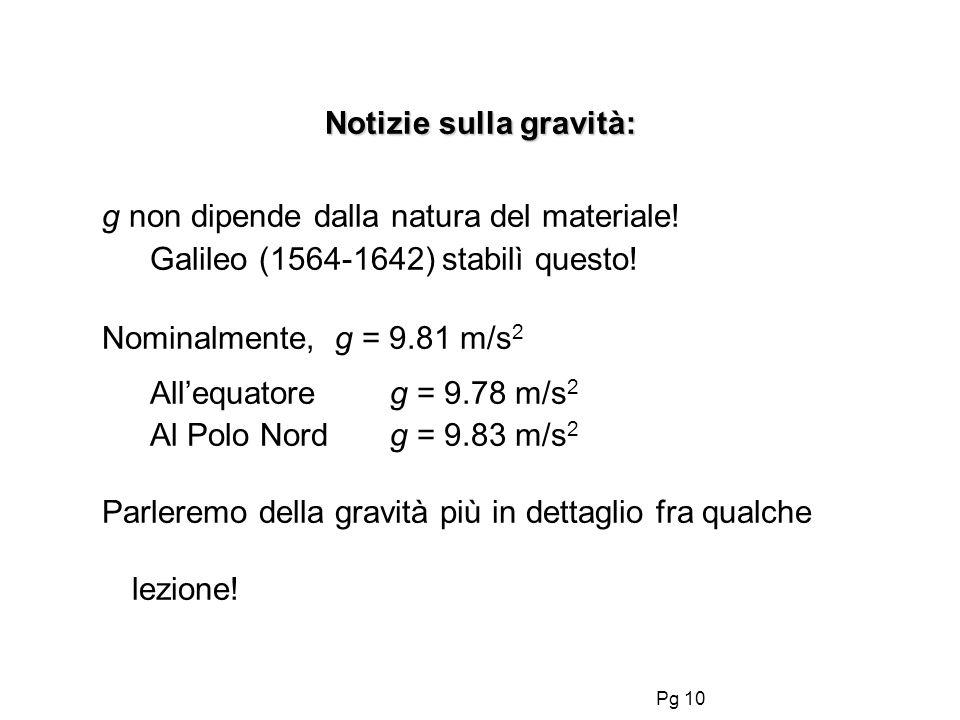 Pg 10 Notizie sulla gravità: g non dipende dalla natura del materiale.