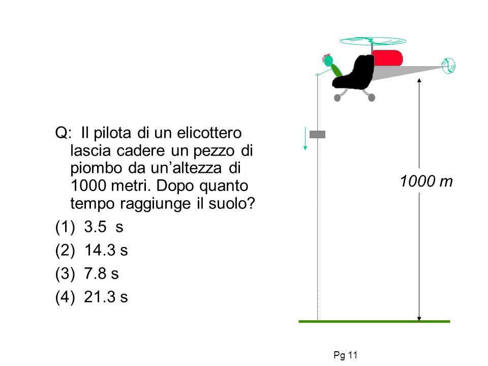 Pg 11 Q: Il pilota di un elicottero lascia cadere un pezzo di piombo da unaltezza di 1000 metri.