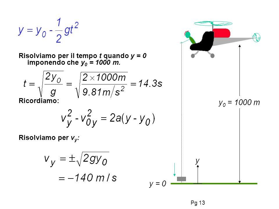 Pg 13 Risolviamo per il tempo t quando y = 0 imponendo che y 0 = 1000 m.