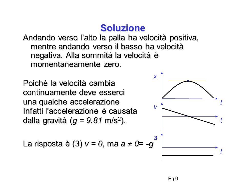 Pg 6 Soluzione x a v t t t Andando verso lalto la palla ha velocità positiva, mentre andando verso il basso ha velocità negativa.