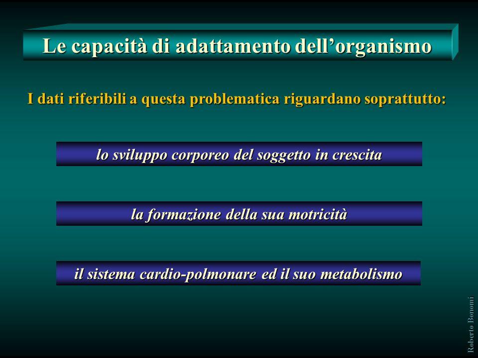 Lincremento delle capacità funzionali dellorganismo avviene per effetto di variazioni da adattamento di vari sottosistemi per cui: si rafforzano, per