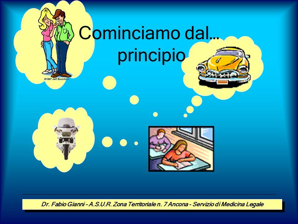 Cominciamo dal… principio Dr. Fabio Gianni – A.S.U.R. Zona Territoriale n. 7 Ancona - Servizio di Medicina Legale