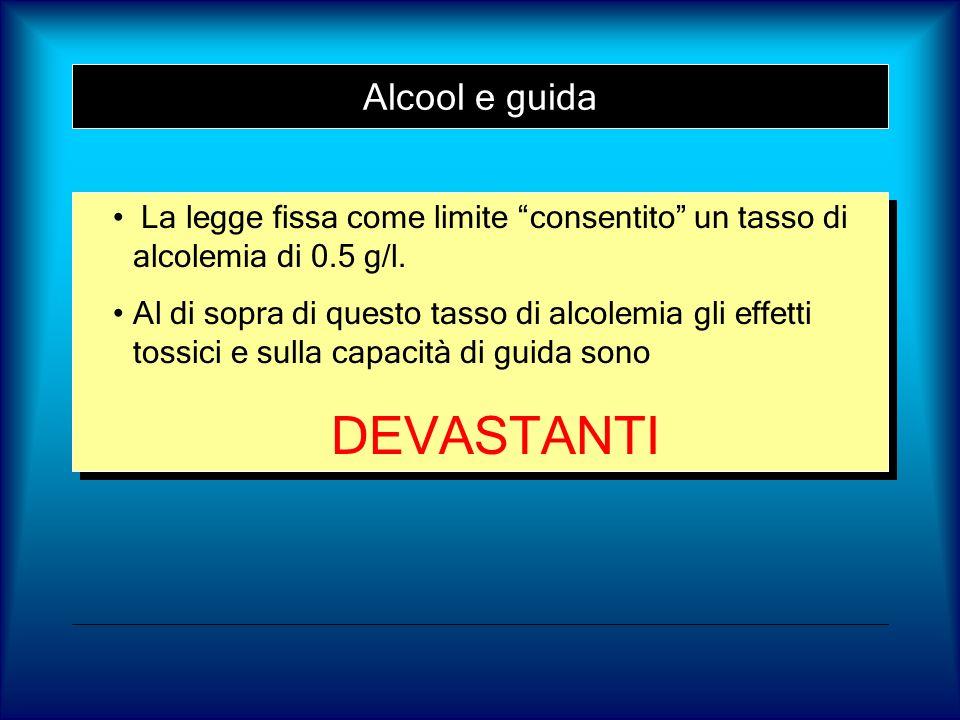 Alcool e guida La legge fissa come limite consentito un tasso di alcolemia di 0.5 g/l. Al di sopra di questo tasso di alcolemia gli effetti tossici e