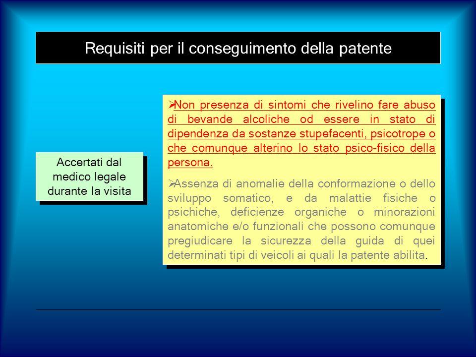 Requisiti per il conseguimento della patente Accertati dal medico legale durante la visita Non presenza di sintomi che rivelino fare abuso di bevande