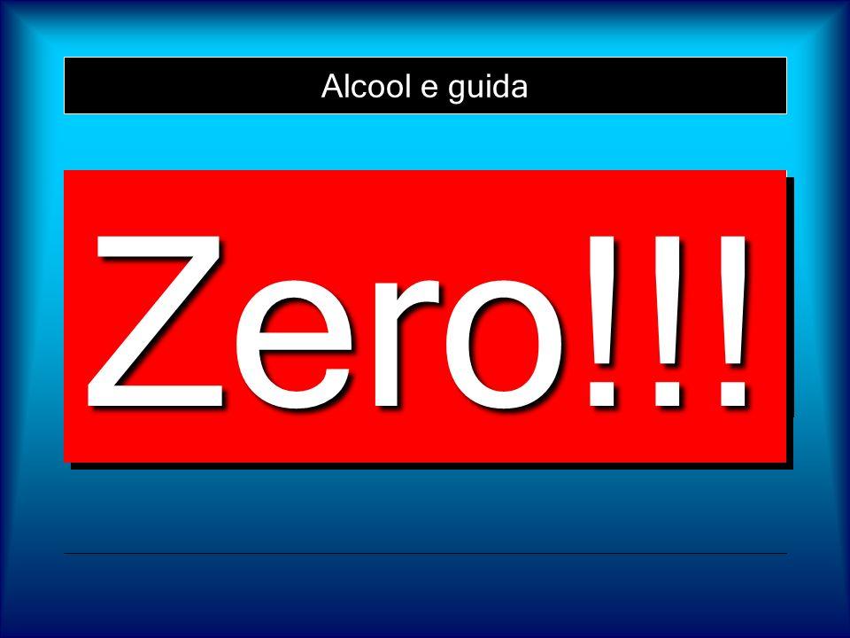 Alcool e guida Ma allora, qual è il limite sicuro per la guida? Zero!!!Zero!!!