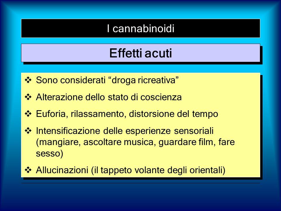 I cannabinoidi Sono considerati droga ricreativa Alterazione dello stato di coscienza Euforia, rilassamento, distorsione del tempo Intensificazione de