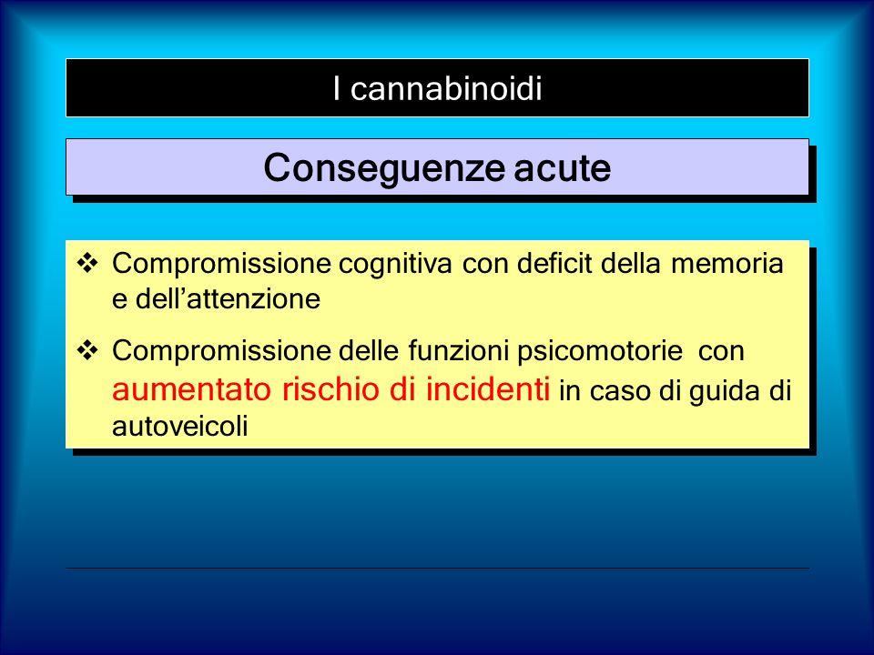 I cannabinoidi Conseguenze acute Compromissione cognitiva con deficit della memoria e dellattenzione Compromissione delle funzioni psicomotorie con au