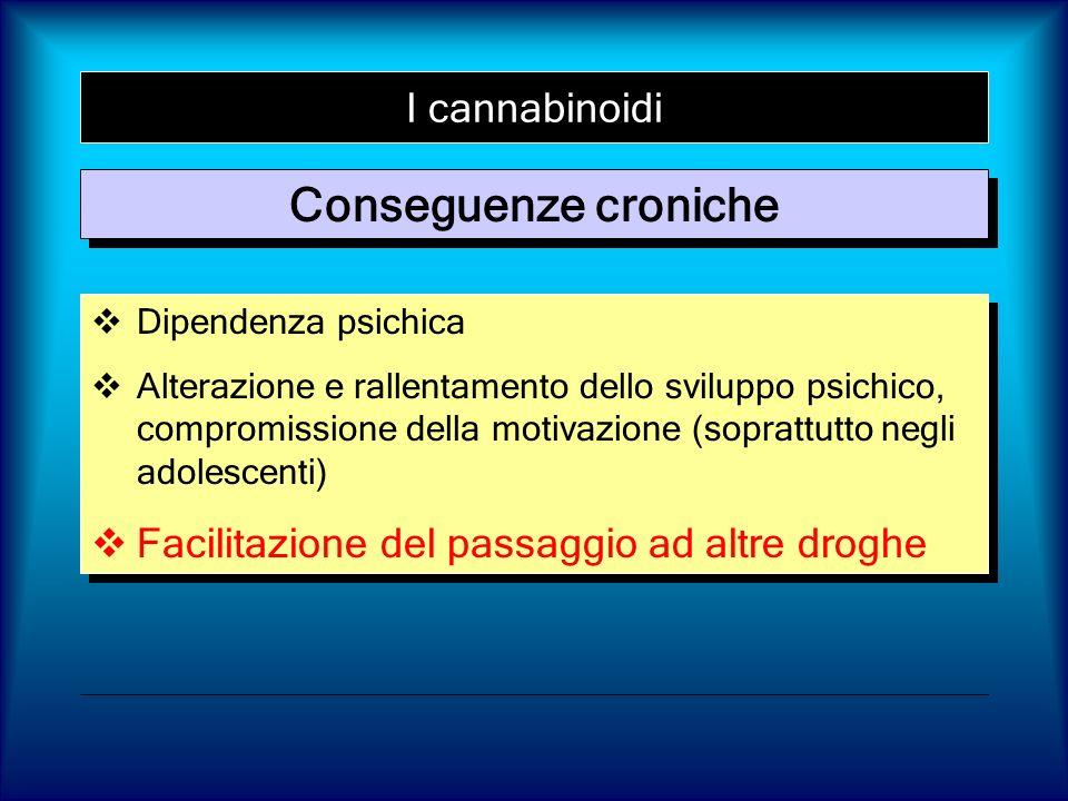 I cannabinoidi Conseguenze croniche Dipendenza psichica Alterazione e rallentamento dello sviluppo psichico, compromissione della motivazione (sopratt