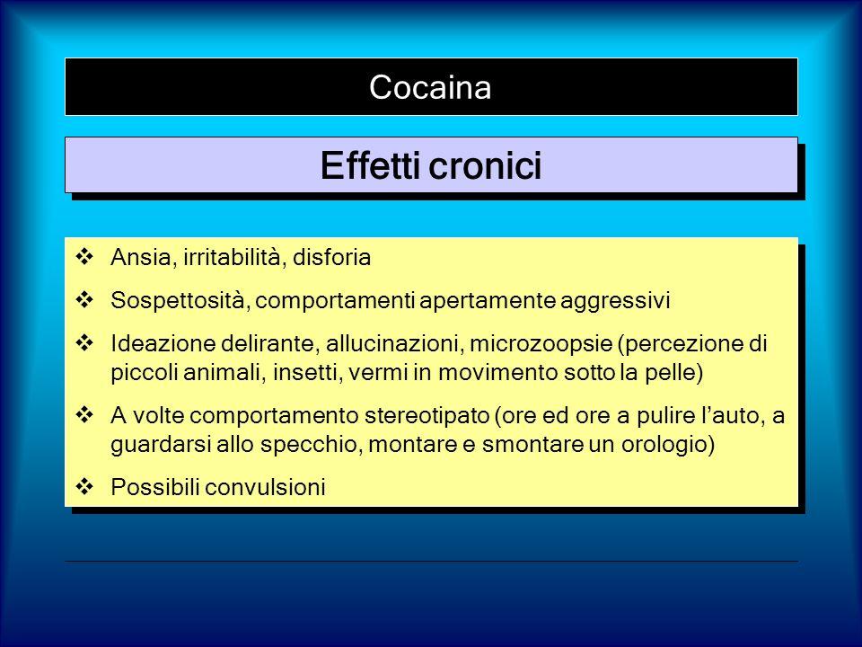 Cocaina Effetti cronici Ansia, irritabilità, disforia Sospettosità, comportamenti apertamente aggressivi Ideazione delirante, allucinazioni, microzoop