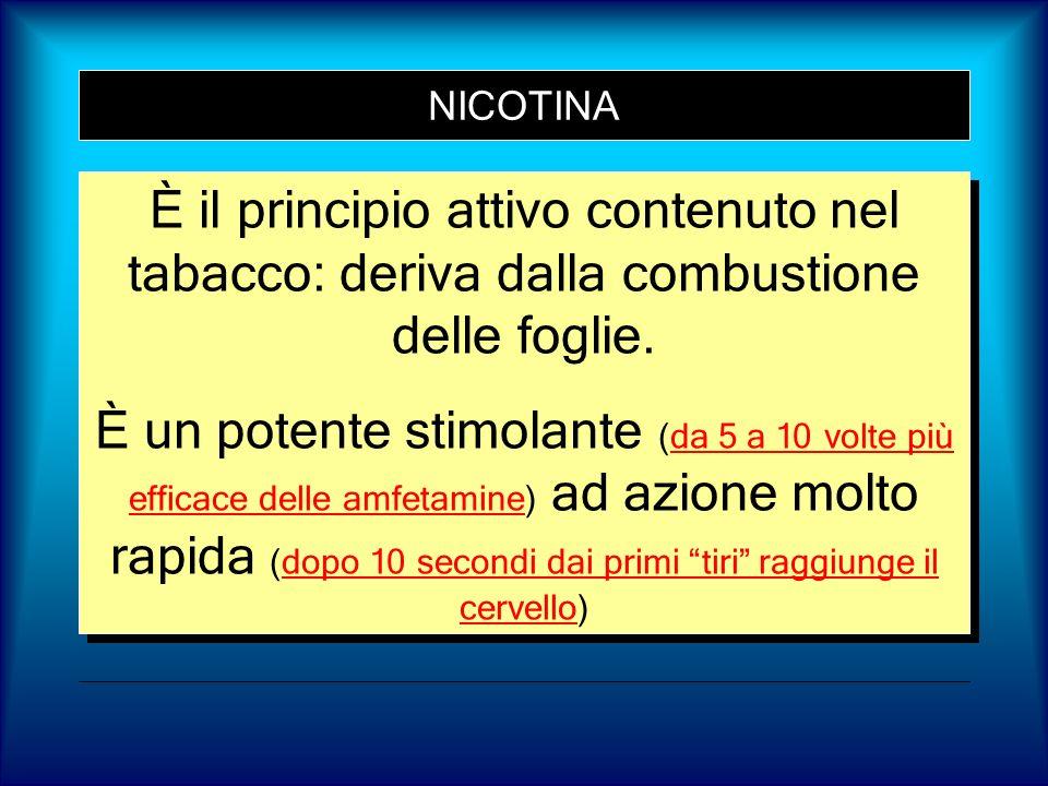 NICOTINA È il principio attivo contenuto nel tabacco: deriva dalla combustione delle foglie. È un potente stimolante (da 5 a 10 volte più efficace del