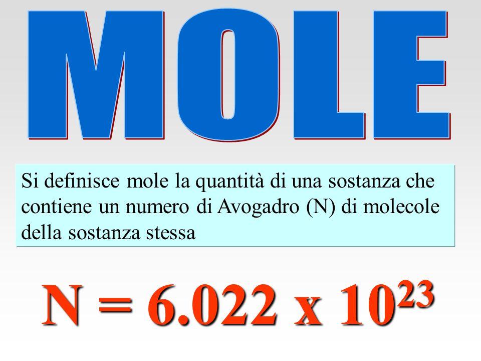 Massa atomica relativa dellH : 1.008 1.008 g (1.008 x 1.66 x 10 -24 ) g = 6.022 x 10 23 atomi di H Massa atomica relativa del Fe : 55.847 55.847 g (55