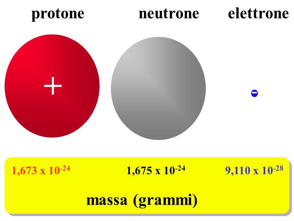 + - protone neutroneelettrone 1,673 x 10 -24 1,675 x 10 -24 9,110 x 10 -28 massa (grammi)