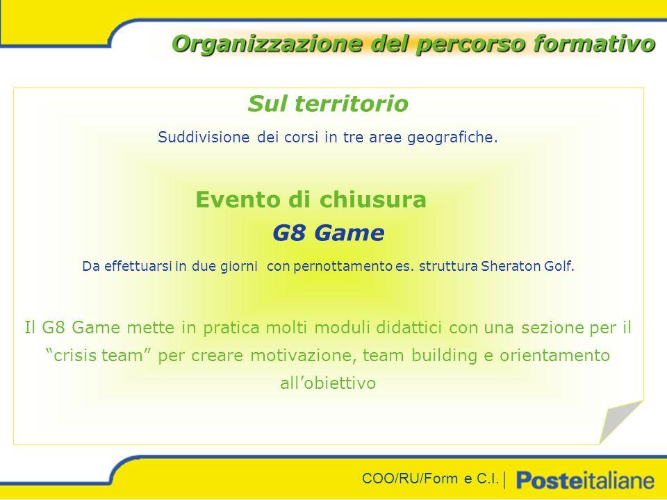 COO/RU/Form e C.I. Organizzazione del percorso formativo Evento di apertura Tutti i partecipanti presso grandi strutture : Milano es: Aula Magna SDA B