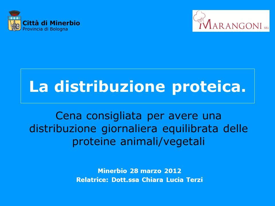 La distribuzione proteica. Cena consigliata per avere una distribuzione giornaliera equilibrata delle proteine animali/vegetali Minerbio 28 marzo 2012