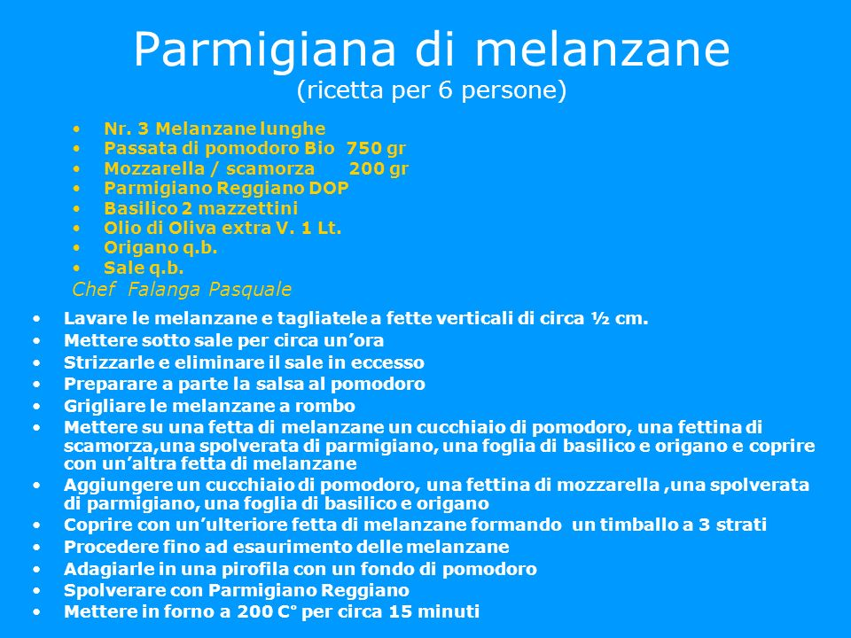 Parmigiana di melanzane (ricetta per 6 persone) Nr. 3 Melanzane lunghe Passata di pomodoro Bio 750 gr Mozzarella / scamorza 200 gr Parmigiano Reggiano
