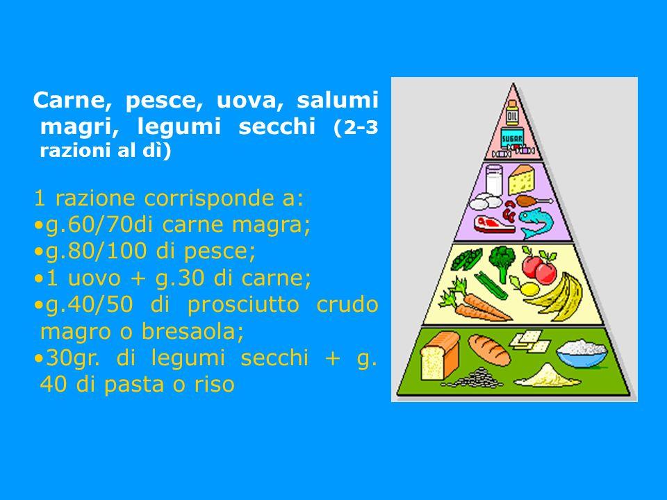 Carne, pesce, uova, salumi magri, legumi secchi (2-3 razioni al dì) 1 razione corrisponde a: g.60/70di carne magra; g.80/100 di pesce; 1 uovo + g.30 d