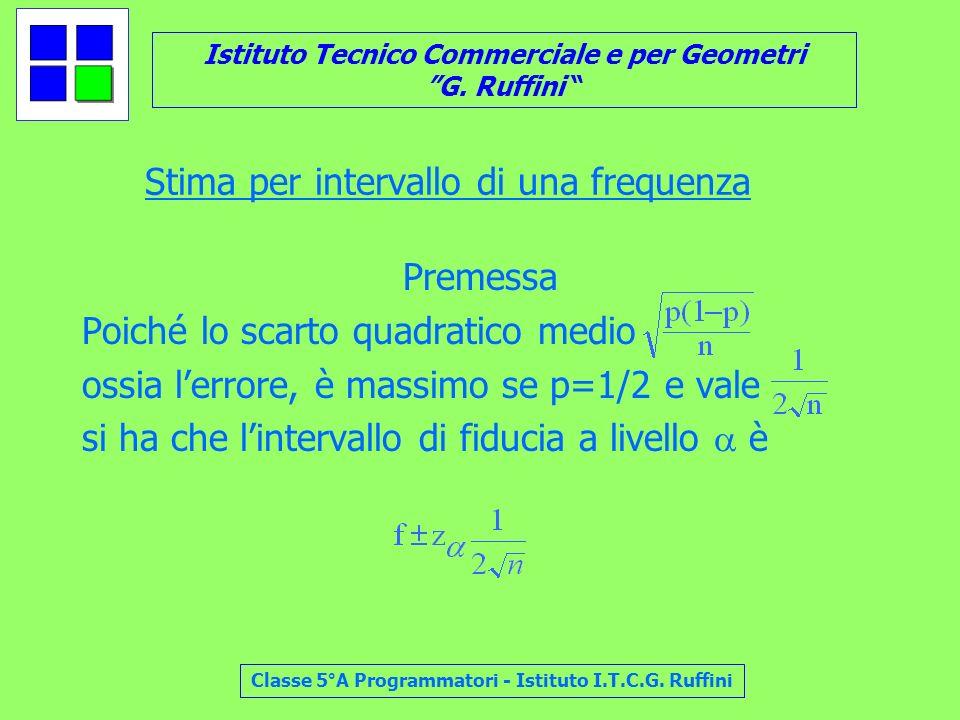 Istituto Tecnico Commerciale e per Geometri G. Ruffini Classe 5°A Programmatori - Istituto I.T.C.G. Ruffini Stima per intervallo di una frequenza Prem