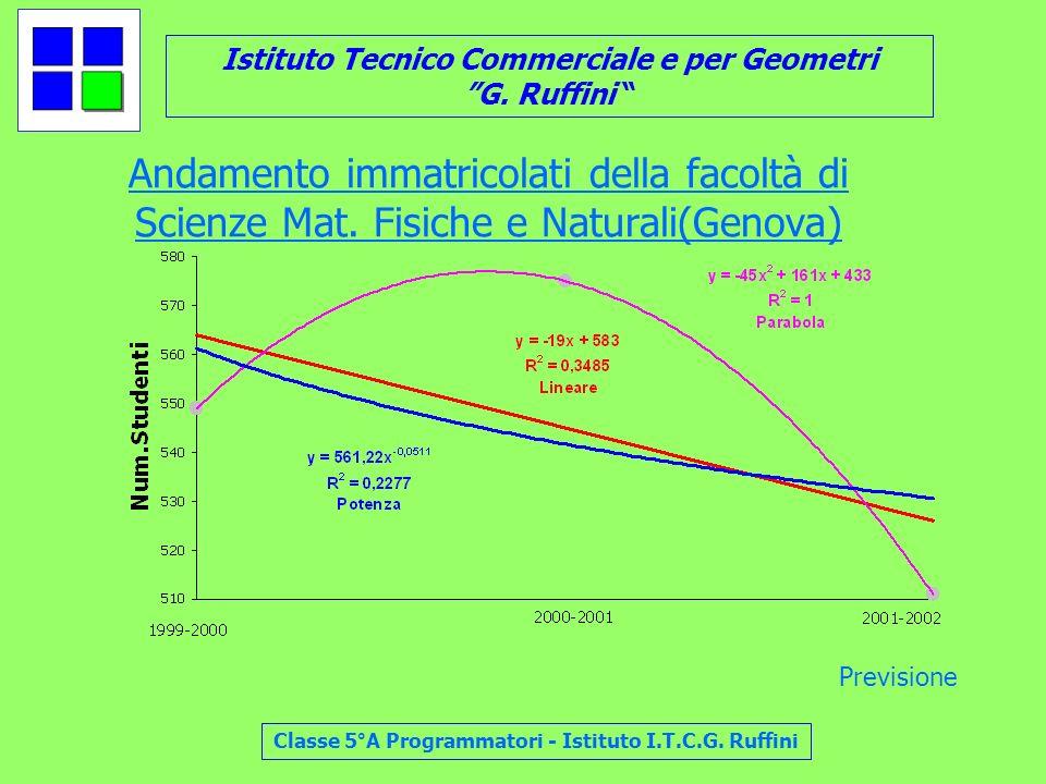 Istituto Tecnico Commerciale e per Geometri G. Ruffini Classe 5°A Programmatori - Istituto I.T.C.G. Ruffini Andamento immatricolati della facoltà di S