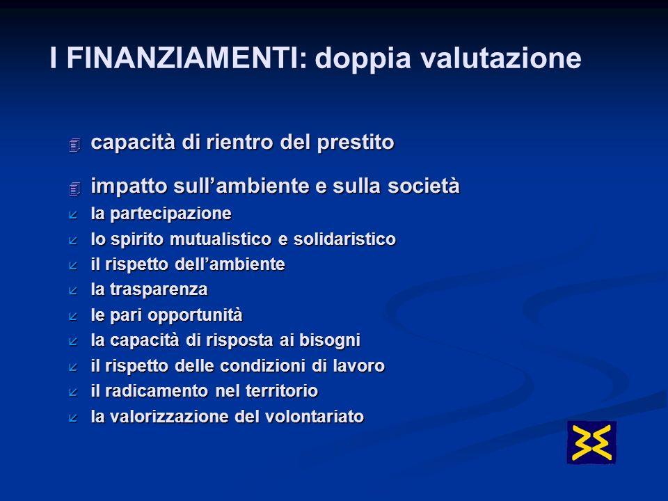4 capacità di rientro del prestito 4 impatto sullambiente e sulla società å la partecipazione å lo spirito mutualistico e solidaristico å il rispetto