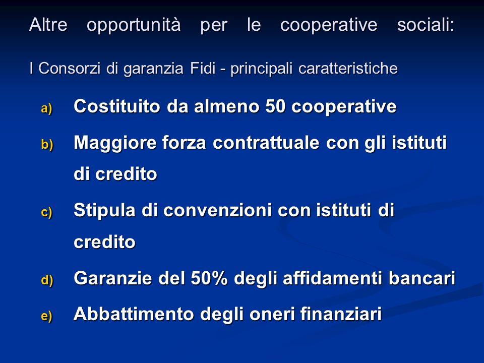 Altre opportunità per le cooperative sociali: I Consorzi di garanzia Fidi - principali caratteristiche a) Costituito da almeno 50 cooperative b) Maggi