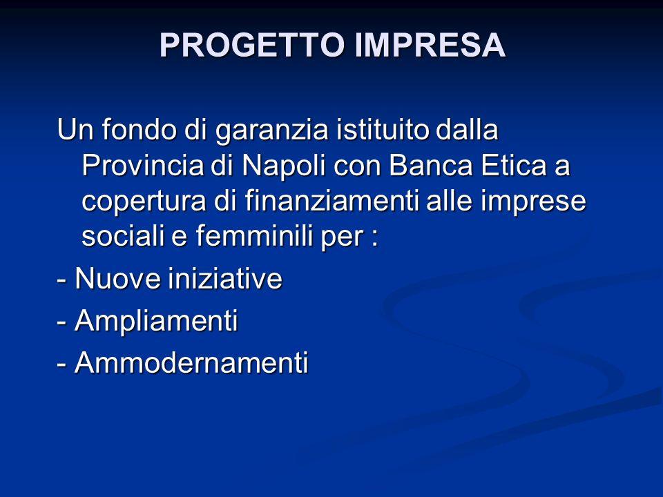 PROGETTO IMPRESA Un fondo di garanzia istituito dalla Provincia di Napoli con Banca Etica a copertura di finanziamenti alle imprese sociali e femminil