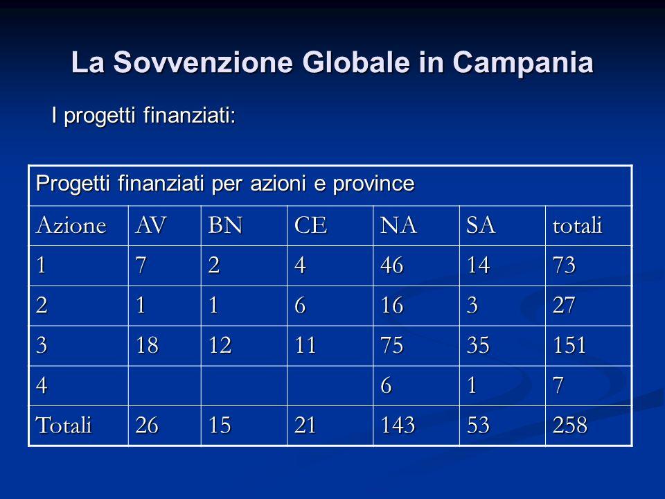 La Sovvenzione Globale in Campania I progetti finanziati: Progetti finanziati per azioni e province AzioneAVBNCENASAtotali 1724461473 211616327 31812117535151 4617 Totali26152114353258