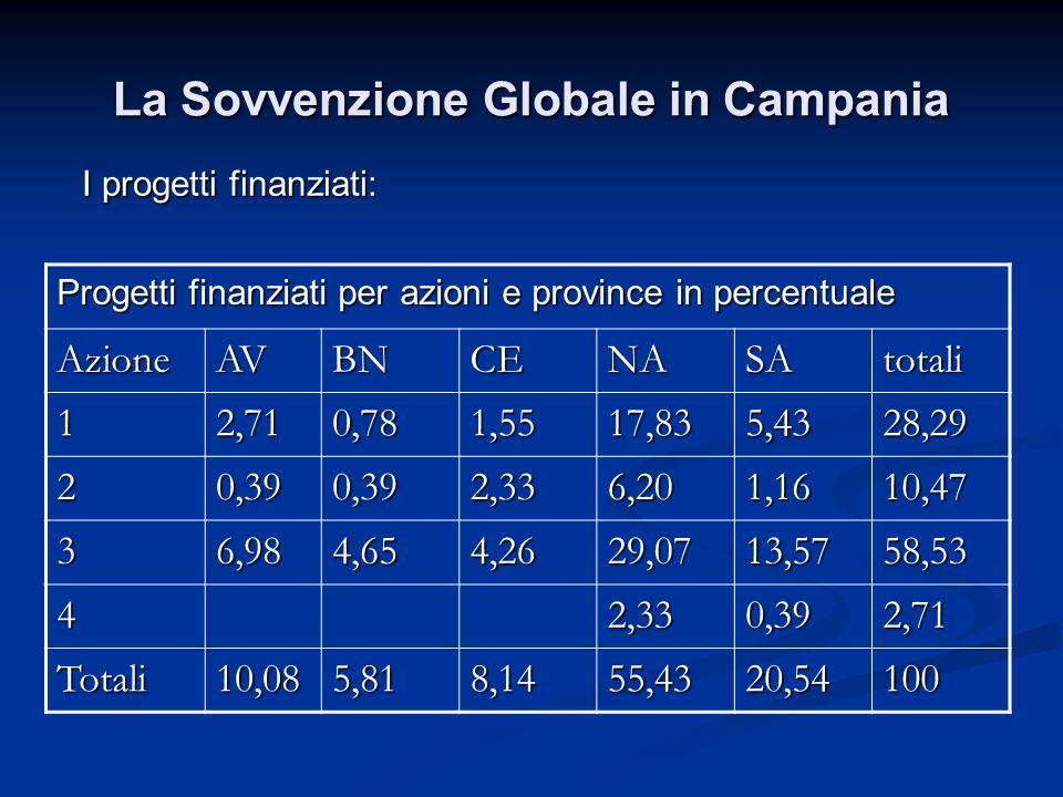 La Sovvenzione Globale in Campania I progetti finanziati: Progetti finanziati per azioni e province in percentuale AzioneAVBNCENASAtotali 12,710,781,5
