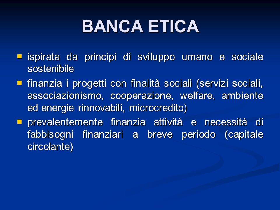 BANCA ETICA ispirata da principi di sviluppo umano e sociale sostenibile ispirata da principi di sviluppo umano e sociale sostenibile finanzia i proge