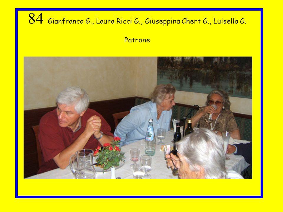 84 Gianfranco G., Laura Ricci G., Giuseppina Chert G., Luisella G. Patrone