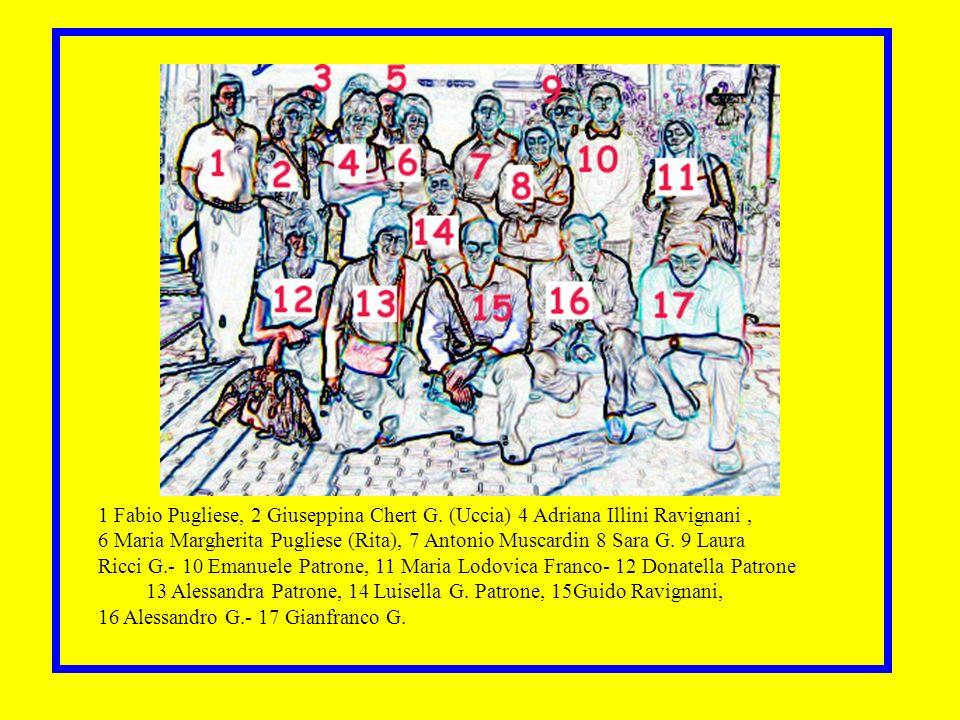 Nomi 1 Fabio Pugliese, 2 Giuseppina Chert G. (Uccia) 4 Adriana Illini Ravignani, 6 Maria Margherita Pugliese (Rita), 7 Antonio Muscardin 8 Sara G. 9 L