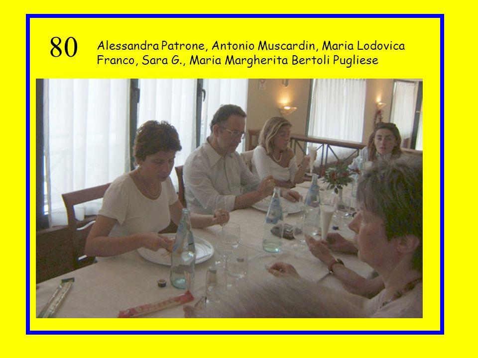 80 Alessandra Patrone, Antonio Muscardin, Maria Lodovica Franco, Sara G., Maria Margherita Bertoli Pugliese