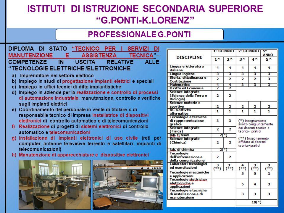 ISTITUTI DI ISTRUZIONE SECONDARIA SUPERIORE G.PONTI-K.LORENZ INDIRIZZO TECNICO PONTI DIPLOMA DI STATO DI PERITO IN MECCANICA E MECCATRONICA CON COMPETENZE IN USCITA : a)Nel campo dei materiali,nei loro trattamenti e lavorazioni, ha competenza sulle macchine e dispositivi utilizzati nelle industrie manifatturiere b)Esprime competenze nella progettazione, costruzione e collaudo dei dispositivi e nei processi produttivi c)Integra le conoscenze di meccanica, elettrotecnica, elettronica e dei sistemi informatici; interviene nei processi di automazione industriale e nel controllo e conduzione dei processi d)Contribuisce allinnovazione, alladeguamento tecnologico e organizzativo delle imprese; elabora cicli di lavorazione, analizzandone e valutandone i costi e)È in grado di pianificare la produzione e la certificazione dei sistemi progettati.