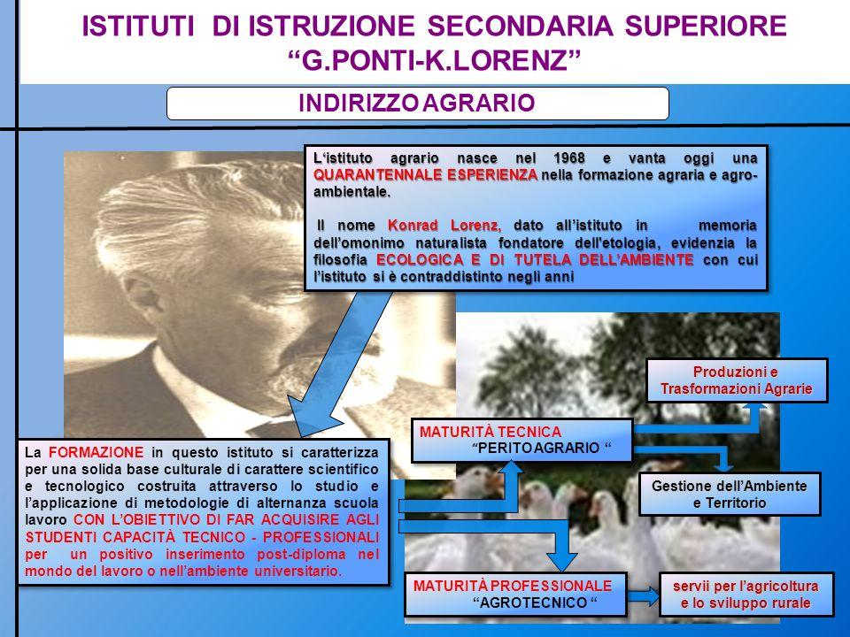ISTITUTI DI ISTRUZIONE SECONDARIA SUPERIORE G.PONTI-K.LORENZ INDIRIZZO AGRARIO MATURITÀ TECNICA PERITO AGRARIO MATURITÀ TECNICA PERITO AGRARIO MATURIT