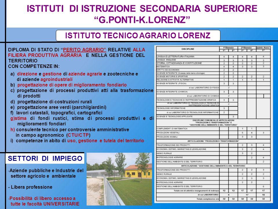 ISTITUTI DI ISTRUZIONE SECONDARIA SUPERIORE G.PONTI-K.LORENZ ISTITUTO TECNICO AGRARIO LORENZ DIPLOMA DI STATO DI PERITO AGRARIO RELATIVE ALLA FILIERA