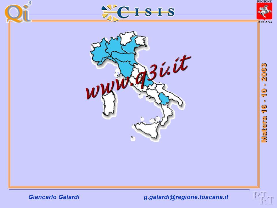 Giancarlo Galardig.galardi@regione.toscana.it Matera 16 - 10 - 2003 Ambiti di intervento del Q3I a) Le Infrastrutture per la Società dellInformazione