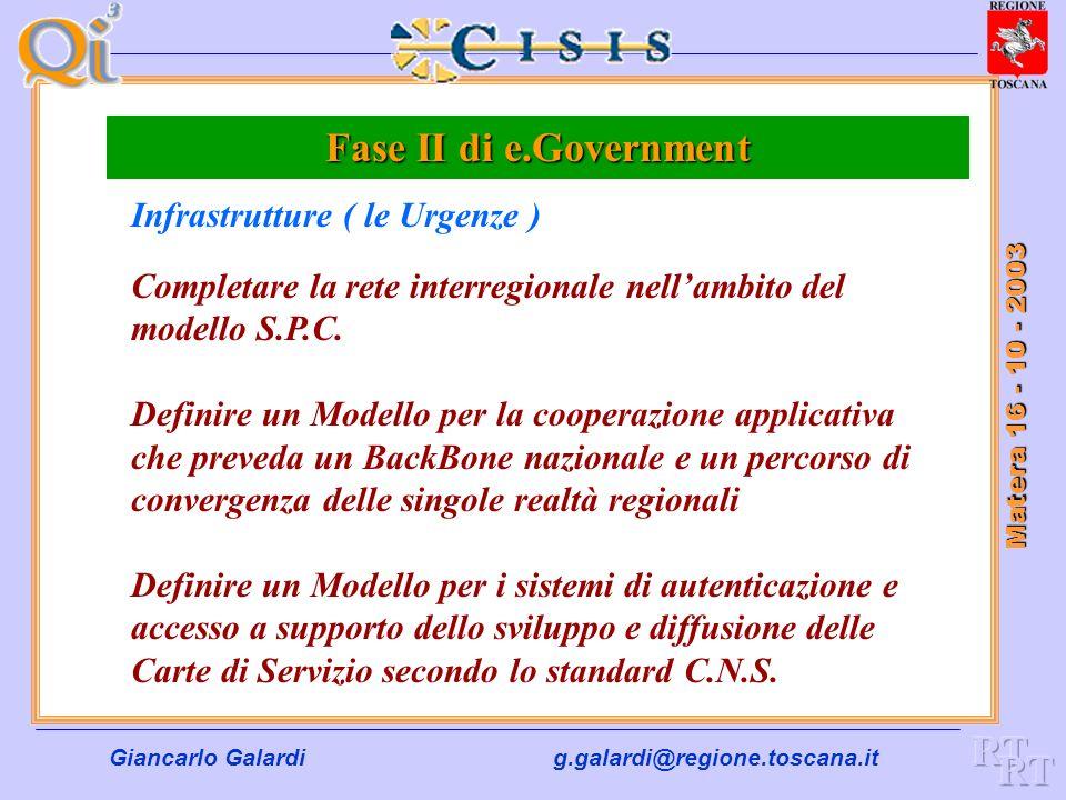 Giancarlo Galardig.galardi@regione.toscana.it Matera 16 - 10 - 2003 Fase II di e.Government I temi sui quali possiamo, dobbiamo e sappiamo dare un con