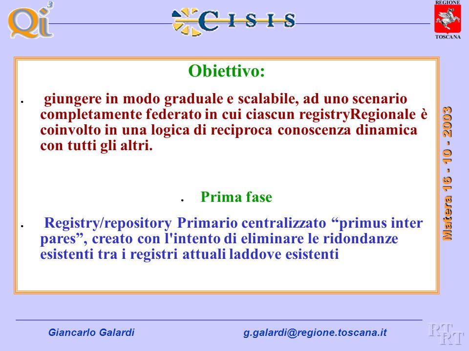 Giancarlo Galardig.galardi@regione.toscana.it Matera 16 - 10 - 2003 Cooperazione Applicativa Una Infrastruttura costituita da: Centri di servizio regi