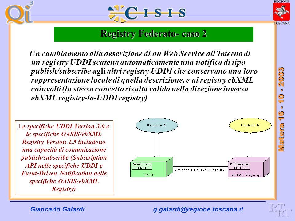 Giancarlo Galardig.galardi@regione.toscana.it Matera 16 - 10 - 2003 Registry Federato- caso 1 Un ente possiede un registry ebXML contenente le descriz