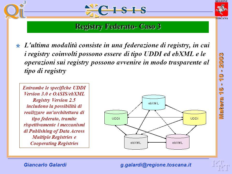 Giancarlo Galardig.galardi@regione.toscana.it Matera 16 - 10 - 2003 Registry Federato- caso 2 Un cambiamento alla descrizione di un Web Service all'in