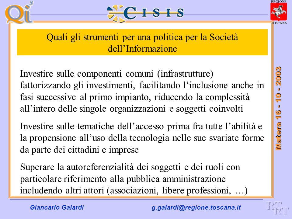 Giancarlo Galardig.galardi@regione.toscana.it Matera 16 - 10 - 2003 Fase II di e.Government Infrastrutture ( le Urgenze ) Completare la rete interregionale nellambito del modello S.P.C.
