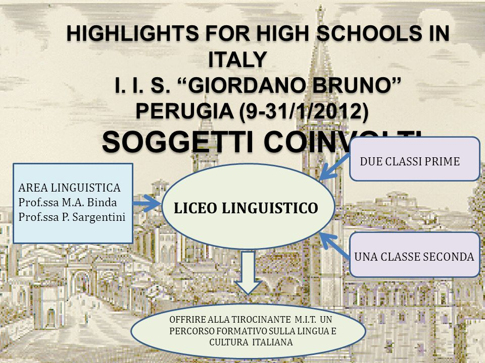 HIGHLIGHTS FOR HIGH SCHOOLS IN ITALY I. I. S. GIORDANO BRUNO PERUGIA (9-31/1/2012) SOGGETTI COINVOLTI HIGHLIGHTS FOR HIGH SCHOOLS IN ITALY I. I. S. GI