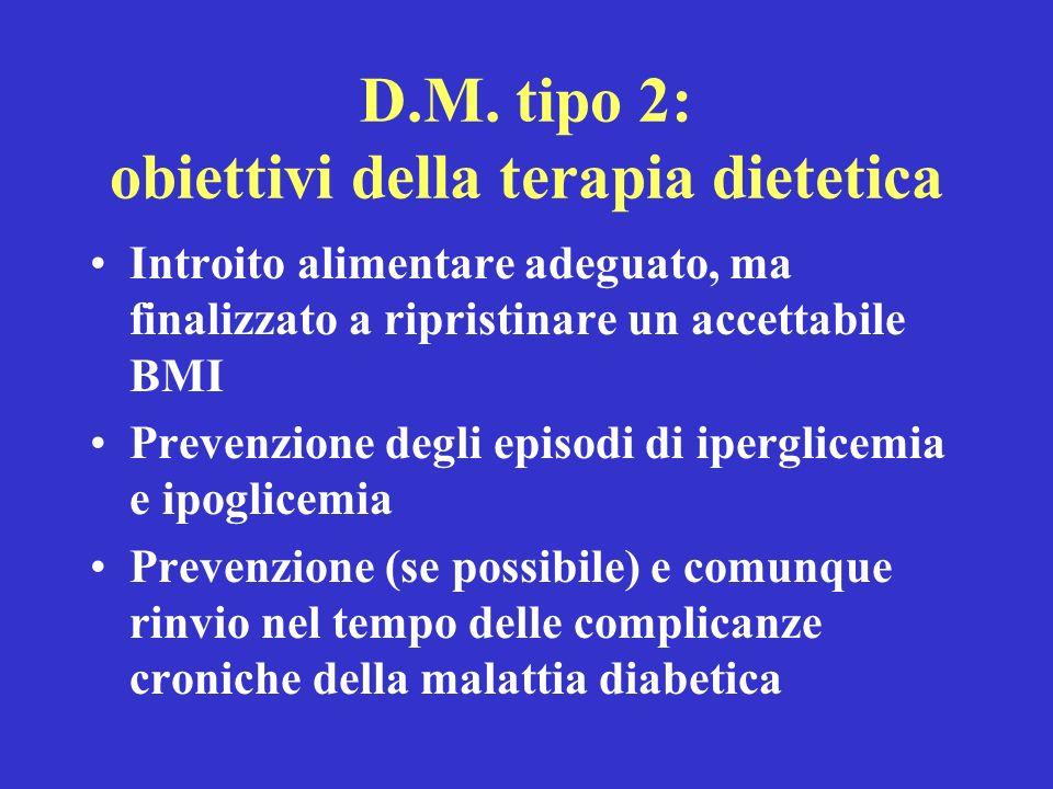 D.M. tipo 2: obiettivi della terapia dietetica Introito alimentare adeguato, ma finalizzato a ripristinare un accettabile BMI Prevenzione degli episod